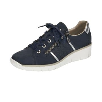 Rieker 53711  Womens  Navy Lace Up and Zip Shoe