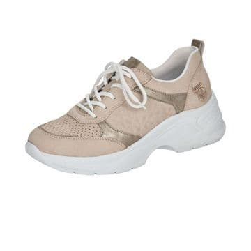 Rieker 59426  Womens  Pale Pink Leather-Lace Up Trainer