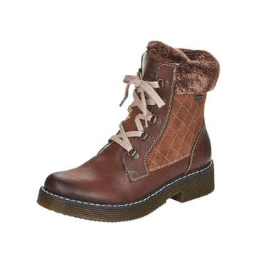 Rieker 70025 - Brown  Lace Up and Zip Ankle Boot
