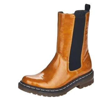 Rieker 76280 - Yellow Patent - with Zip - Chunky Ankle Boot