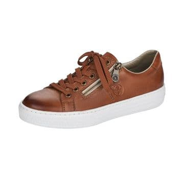 Rieker L59L1  Womens  Brown Leather- Lace Up-w/zip Casual Shoe