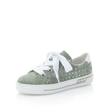 Rieker L8845  Womens  Mint- w/punched detail-Lace Up Casual Shoe