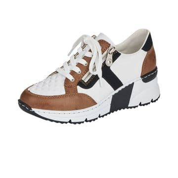 Rieker N6303  Womens White Combination-Lace Up-w/zip- Wedge Trainers