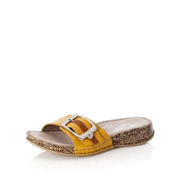 Rieker Womens 61187 Yellow with buckle detail-Leather Mule