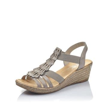 Rieker  Womens  62436 Grey- with decorative front panel- Wedge Sandal
