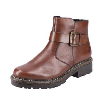 Rieker Z3468 - Brown leather Zip Up Ankle Boot