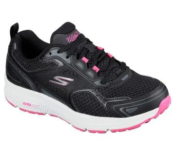Skechers Go Run - Consistent - Black and Pink lace-up trainer