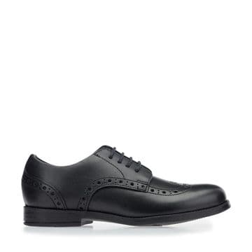 Start-Rite Brogue SNR Black Leather  Lace Up School Shoe (G)