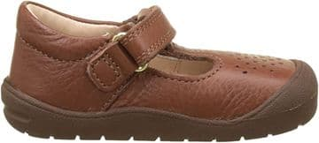 Start-Rite First Alex Tan Leather T-Bar Velcro Fastening Shoes