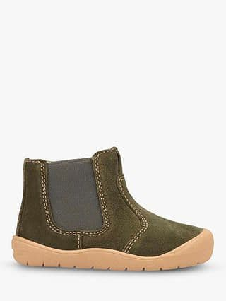 Start-Rite First Chelsea Boot Khaki Suede Side Zip Fastening With Elastic Panel  (F)