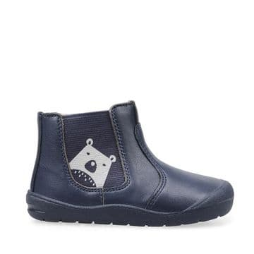 Start-Rite  First Chelsea Boot Navy Leather/Bear Zip Fastening  With Elastic Panel (F)