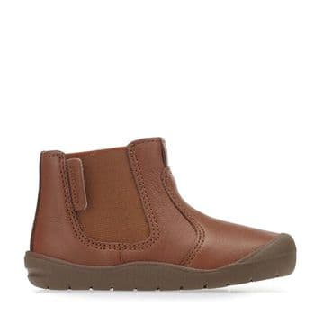 Start-Rite First Chelsea Boot Tan Leather Side Zip Fastening With Elastic Panel