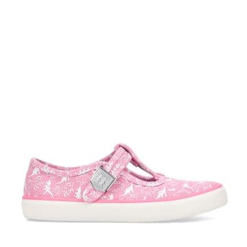Start-Rite Fossil Pink Dino Canvas Shoes