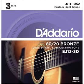 D'Addario EJ13-3D 80/20 Bronze Acoustic Guitar Strings, Custom Light, 11-52 (3 Sets)