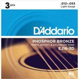 D'Addario EJ16-3D Phosphor Bronze Acoustic Guitar Strings, Light, 12-53 (3 Sets)