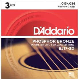 D'Addario EJ17-3D Phosphor Bronze Acoustic Guitar Strings, Light, 13-56 (3 Sets)