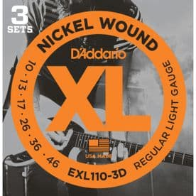 D'Addario EXL110-3D Nickel Wound Electric Guitar Strings,  10-46 - 3 Sets