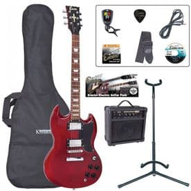 Encore E69 Electric Guitar Pack – Cherry Red