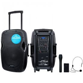 """KAM Portable 12"""" Rechargeable Speaker with FX and Bluetooth - 800W"""