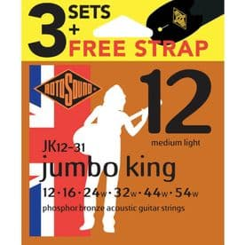 Rotosound JK12-31 Phosphor Bronze 12-54 Acoustic Guitar Strings + Strap (3-Pack)
