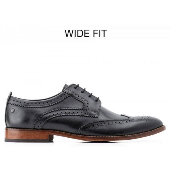 BASE LONDON Waxy Black  Motif Brogue