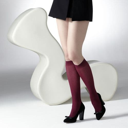 GIPSY TIGHTS Plum Ribbed semi -opaque knee highs