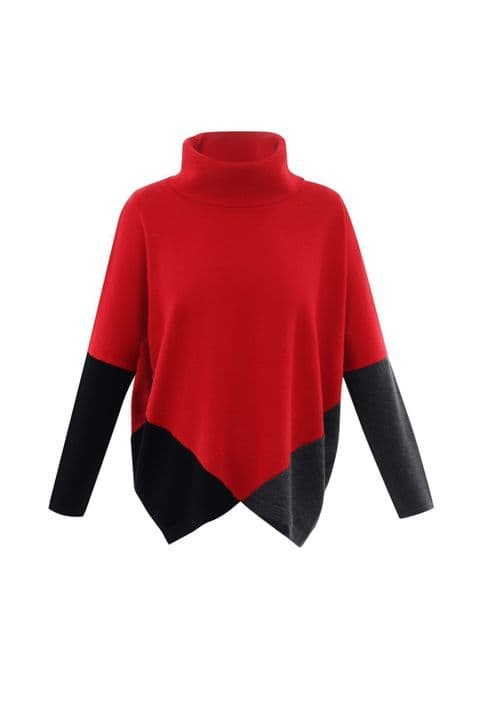 MARBLE 5886 109 Red Grey and Black Jumper % Cotton