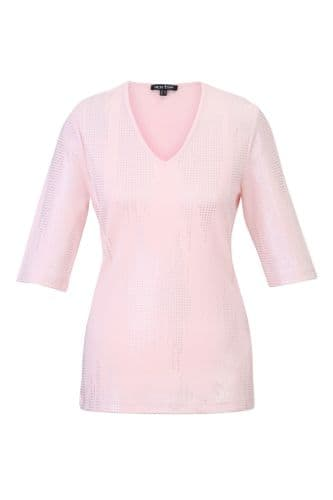 MARBLE Pale Pink T- Shirt 3/4 Sleeve 100% Cotton