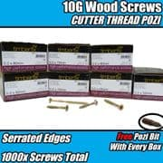 1000x Mixed Pack 5.0mm 10G PREMIUM WOOD SCREWS CUTTER POZI CSK TIMBERFIX GOLD
