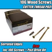 100x 5.0 x 90mm 10G PREMIUM WOOD SCREW CUTTER THREAD POZI CSK TIMBERFIX 360 GOLD