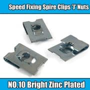 100x Spire Clips 'J' Nuts Speed Fixing Bright Zinc Plated NO.10