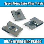 100x Spire Clips 'J' Nuts Speed Fixing Bright Zinc Plated NO.12