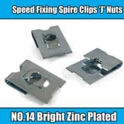 100x Spire Clips 'J' Nuts Speed Fixing Bright Zinc Plated NO.14