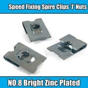 100x Spire Clips 'J' Nuts Speed Fixing Bright Zinc Plated NO.8