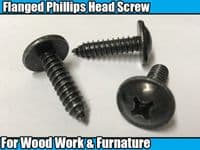 10x Black Metal Pozi Self Tapping Flanged Screw Fastener Fixing 6x25x16 Wood