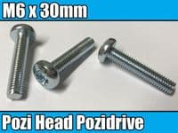 10x Machine Screw M6 x 30mm Pozi Head Pozidrive Bolts For Bikes Cars Captive