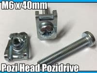 10x Machine Screw M6 x 40mm Pozi Head Pozidrive Bolts M6 Spire Chimney Nut Clips