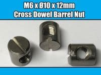 10x New M6 x Ø10 x 12mm Stainless Steel Furniture Cross Dowel Barrel Nut Thread