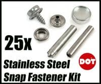 25x Genuine DOT Stainless Steel Stud Boat Canvas to Screw Fastener Kit With Tool