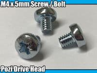 5x Machine Screw M4 x 5mm Pozi Head Bolts M4 PoziDrive Posi Screws Steel Metal