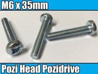 5x Machine Screw M6 x 35mm Pozi Head Pozidrive Bolts For Bikes Cars Captive