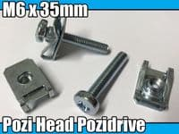 5x Machine Screw M6 x 35mm Pozi Head Pozidrive Bolts M6 Spire Chimney Nut Clips