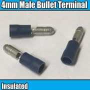 Blue Insulated Male Bullet Electrical Crimp 4.0mm Terminals Brass Cable Wire