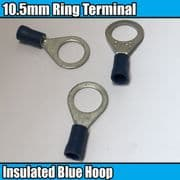 Blue Ring Hoop Eyelet Insulated Electrical 10.5mm Crimp Terminals Cable Wire