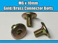 M6 x 10mm Gold Brass Yellow Furniture Connector Bolts Allen Key Joint Fixing New