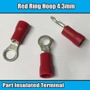 Red Insulated Ring Hoop Electrical Crimp 4.3mm Terminals Brass Cable Wire 3BA