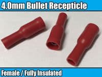 Red Terminal Female Bullet Receptacle 4.0mm Insulated Wire Cable Connector Crimp