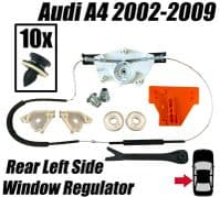 Window Regulator Repair Kit For Audi A4 2000-2008 Rear Left Side Door + Clips