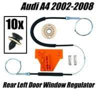 Window Regulator Repair Kit For AUDI A4 Rear Left Door 2002-2008 + Fastener Clip