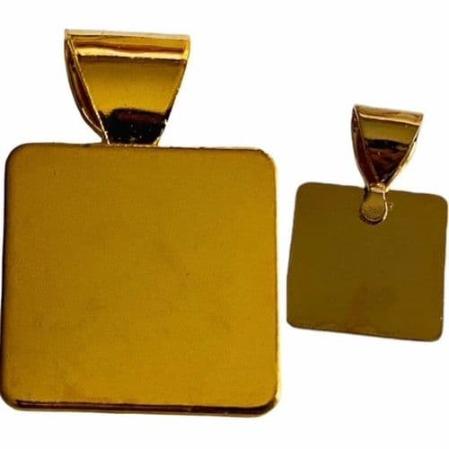 15mm Square Glue on bail Gold plated
